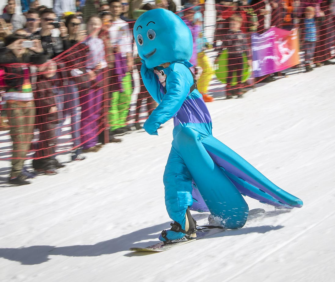 A snowboarder in costume during the Red Bull Jump and Freeze competition.