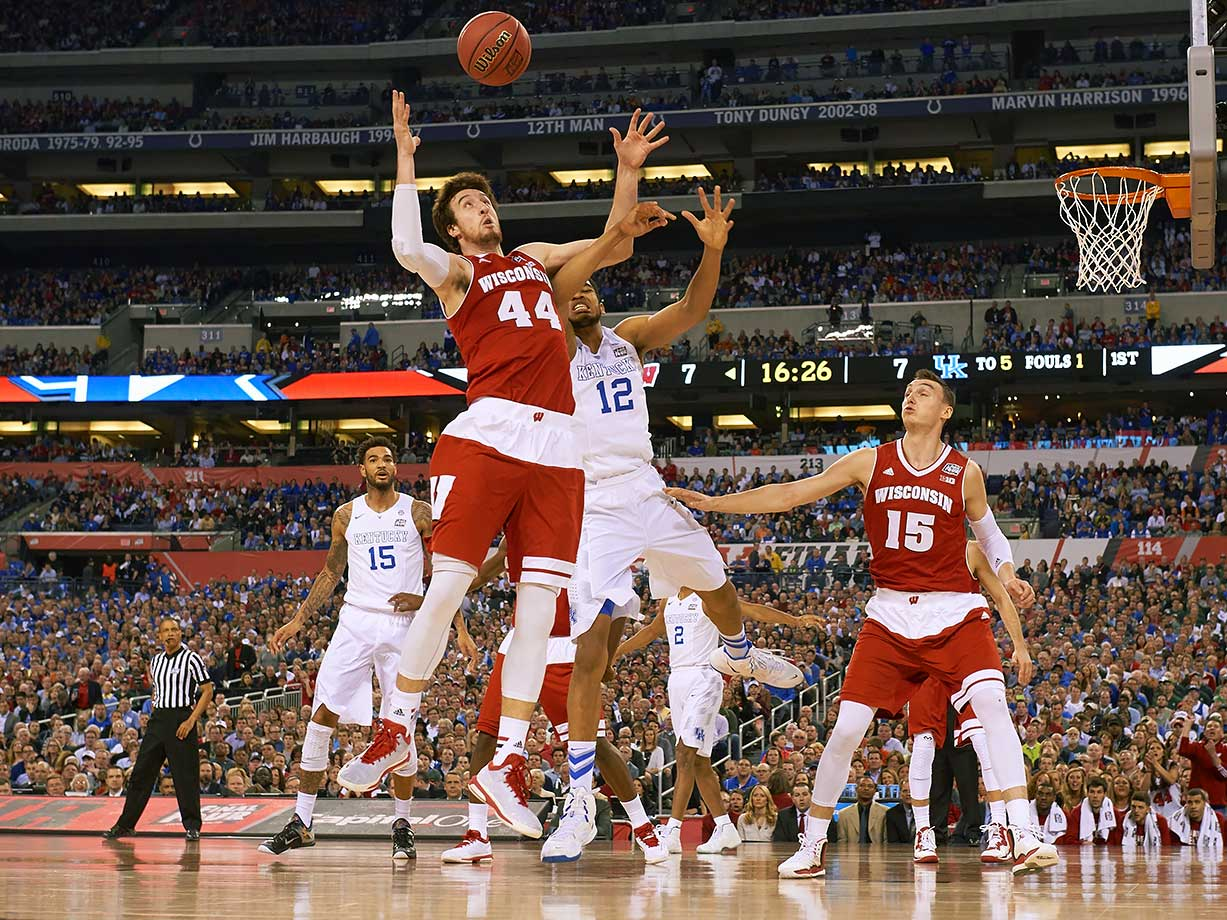 All season, it appeared as if the Kentucky Wildcats (stacked with four NBA first-rounders just a few months later, including the No. 1 overall pick, Karl-Anthony Towns) were on a date with destiny, rattling off 38 consecutive wins.  But Player of the Year Frank Kaminsky and his Badgers teammates ended Kentucky's chances of becoming the first unbeaten NCAA champion since 1976.