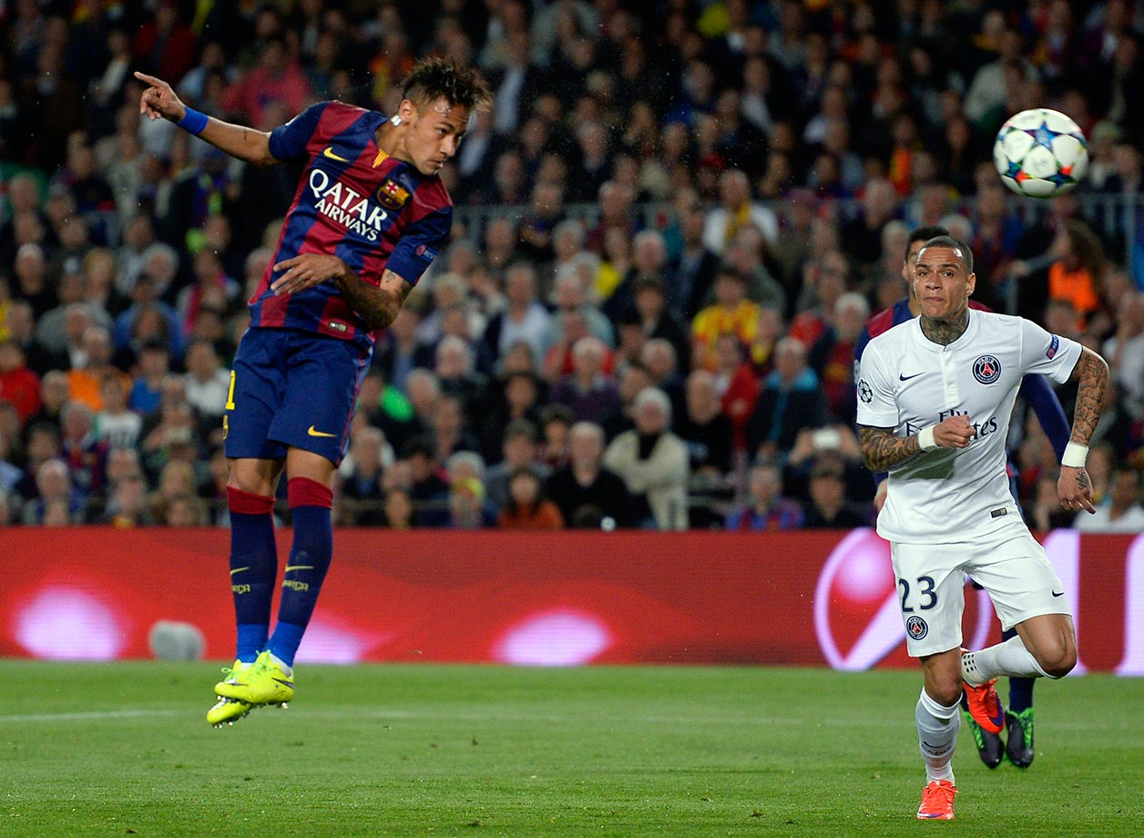 Neymar heads the ball to score his second goal during Barcolona's  Champions League quarterfinal match against Paris Saint-Germain on April 21, 2015 at Camp Nou in Barcelona, Spain.
