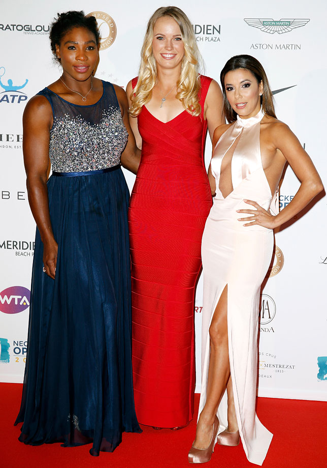 Serena Williams, Caroline Wozniacki and Eva Longoria attend the Champ'Seed party on May 19, 2015 in Monaco.