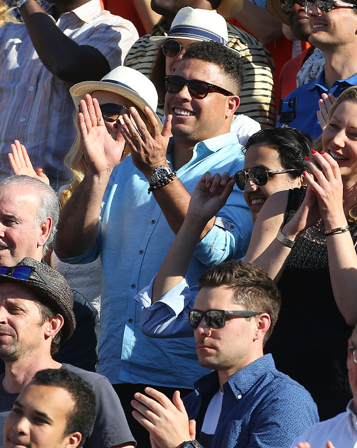 Ronaldo attends the men's final on day 15 of the 2015 French Open 2015 at Roland Garros Stadium in Paris, France.
