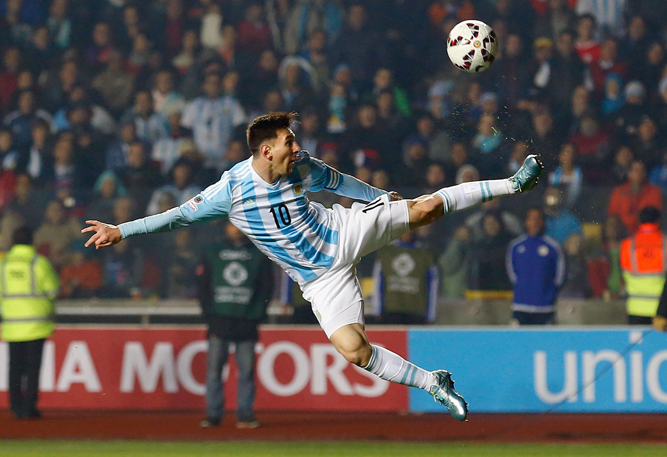 Argentina's Lionel Messi kicks the ball during their Copa America semifinal match against Paraguay on June 30, 2015 at the Estadio Municipal de Concepcion in Chile.