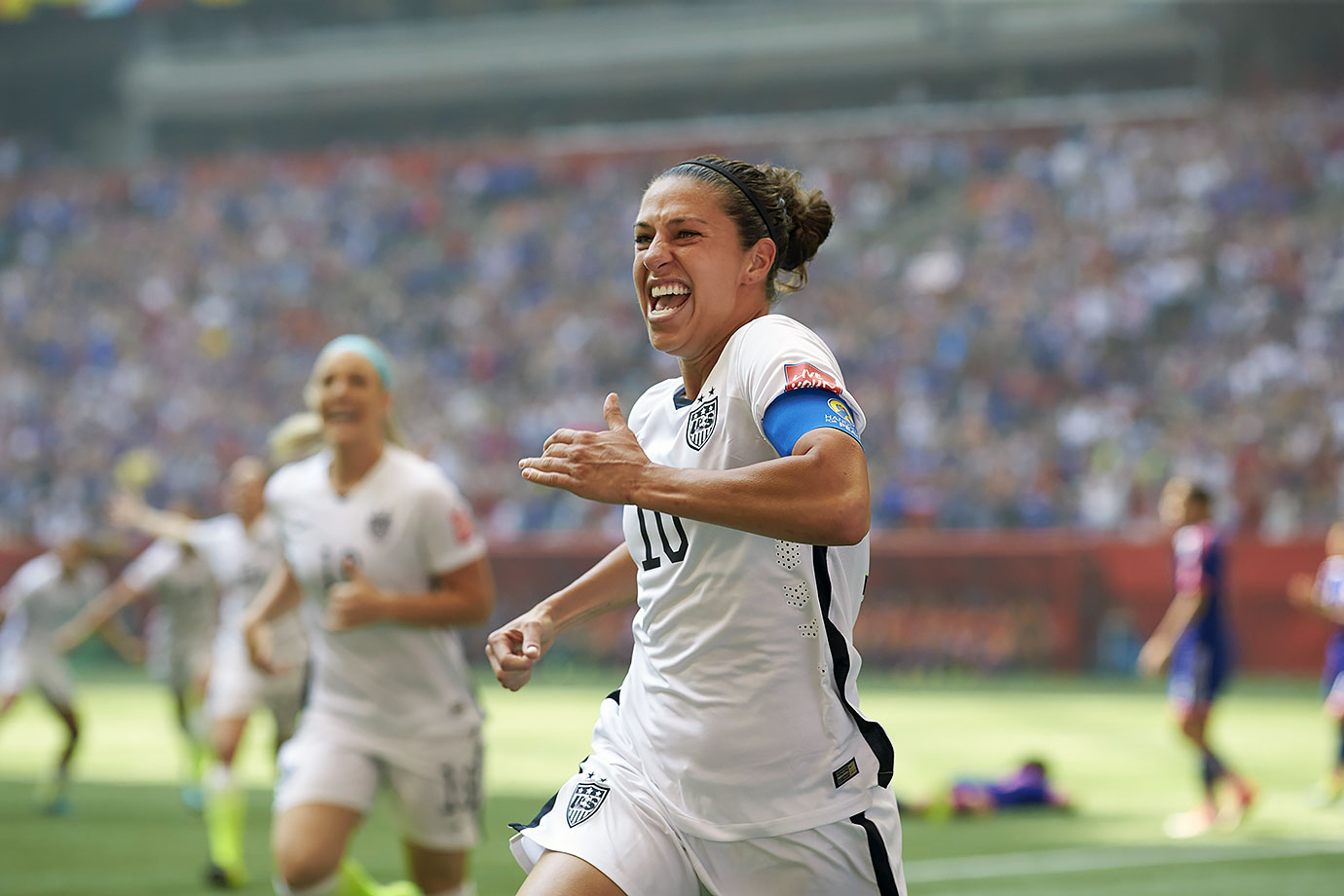 In possibly the greatest performance in World Cup history, Lloyd scored three goals within 16 minutes in the finals to help the U.S. beat Japan, 5-2. Amazingly, she even scored a goal from midfield that sailed over the outstretched arms of the Japanese goalie.