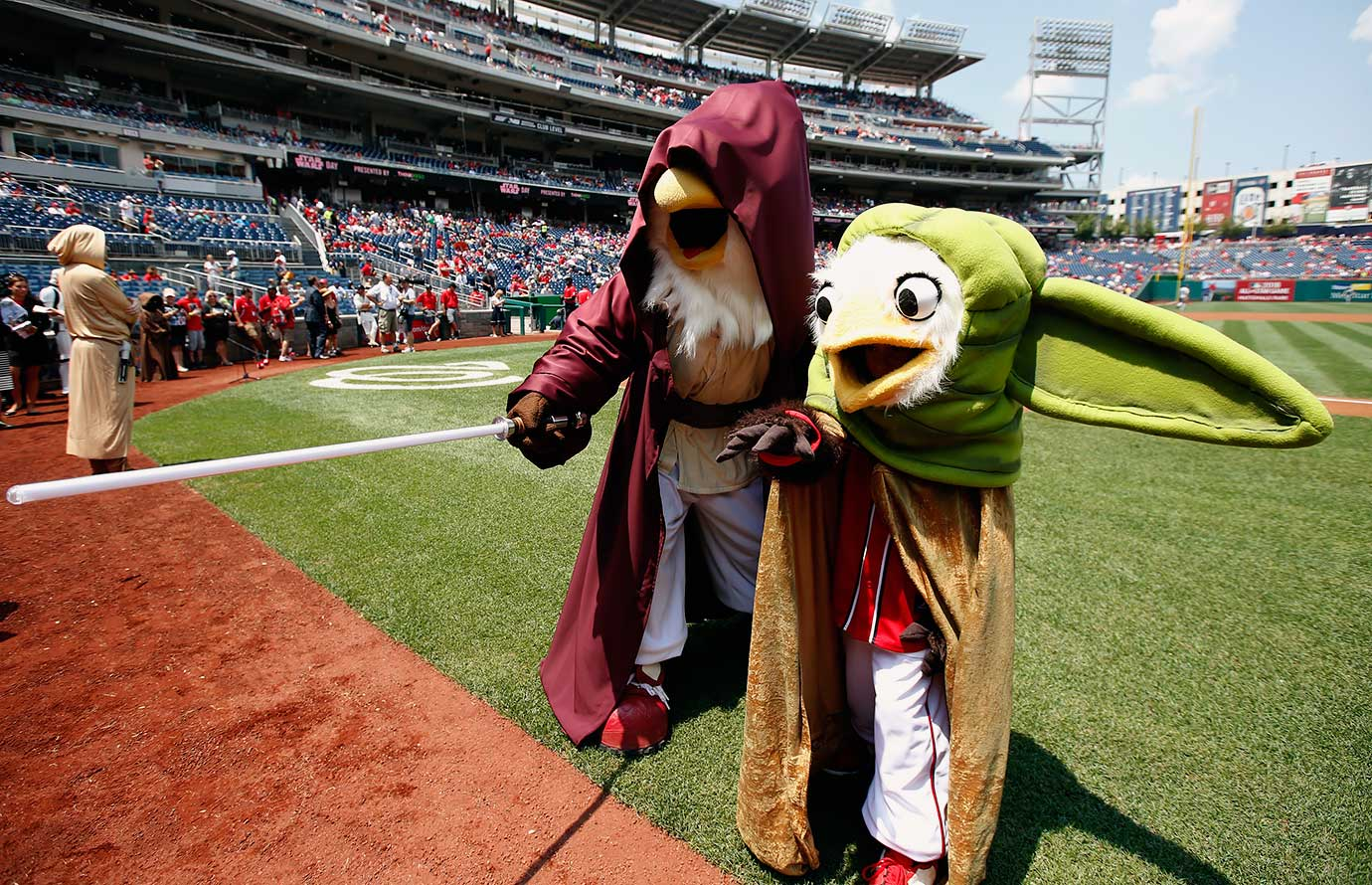 Washington Nationals mascots Screech and Little Screech dress as Star Wars characters before the game against the Los Angeles Dodgers on July 19, 2015 at Nationals Park in Washington, D.C.