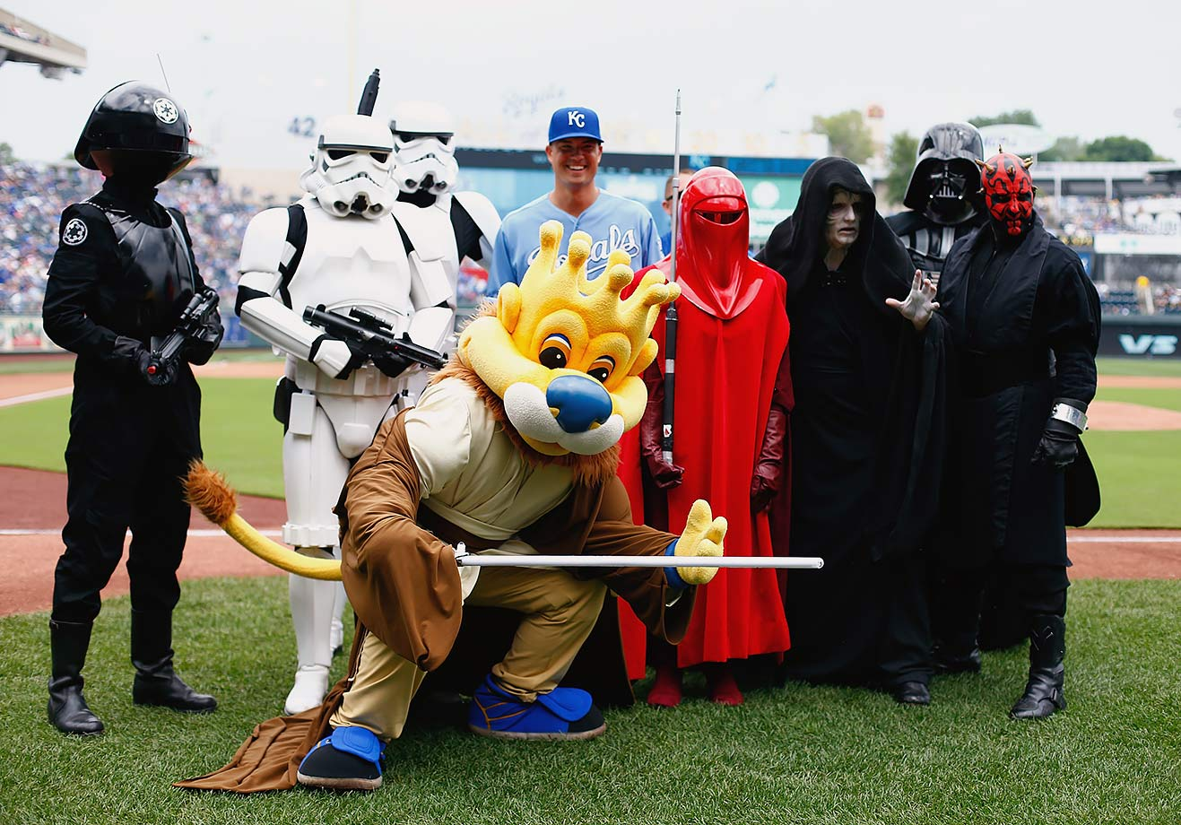 "Kansas City Royals pitcher Jeremy Guthrie and mascot Sluggerrr pose with characters on ""Star Wars Day"" prior to the game against the Chicago White Sox on Aug. 9, 2015 at Kauffman Stadium in Kansas City."