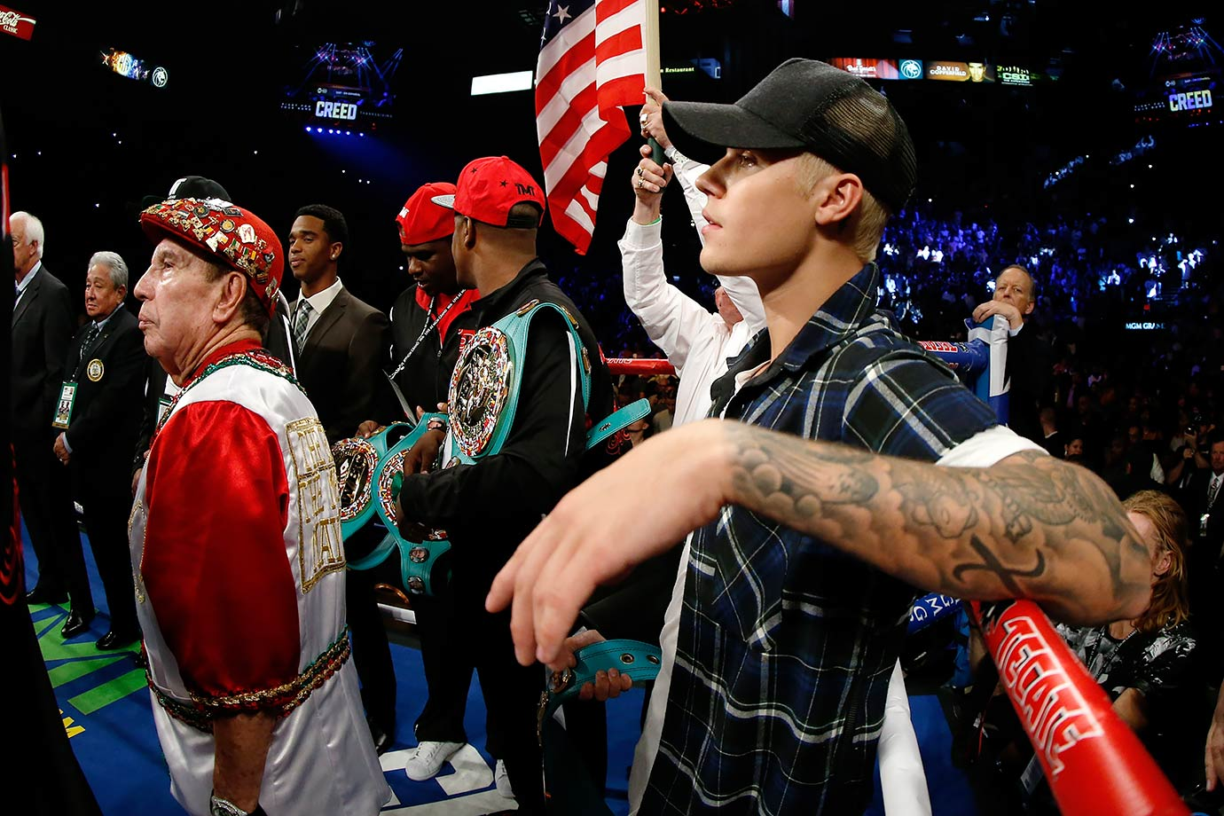 Justin Bieber stands in the ring prior to Floyd Mayweather Jr.'s WBC/WBA welterweight title fight against Andre Berto on Sept. 12, 2015 at the MGM Grand Garden Arena in Las Vegas.