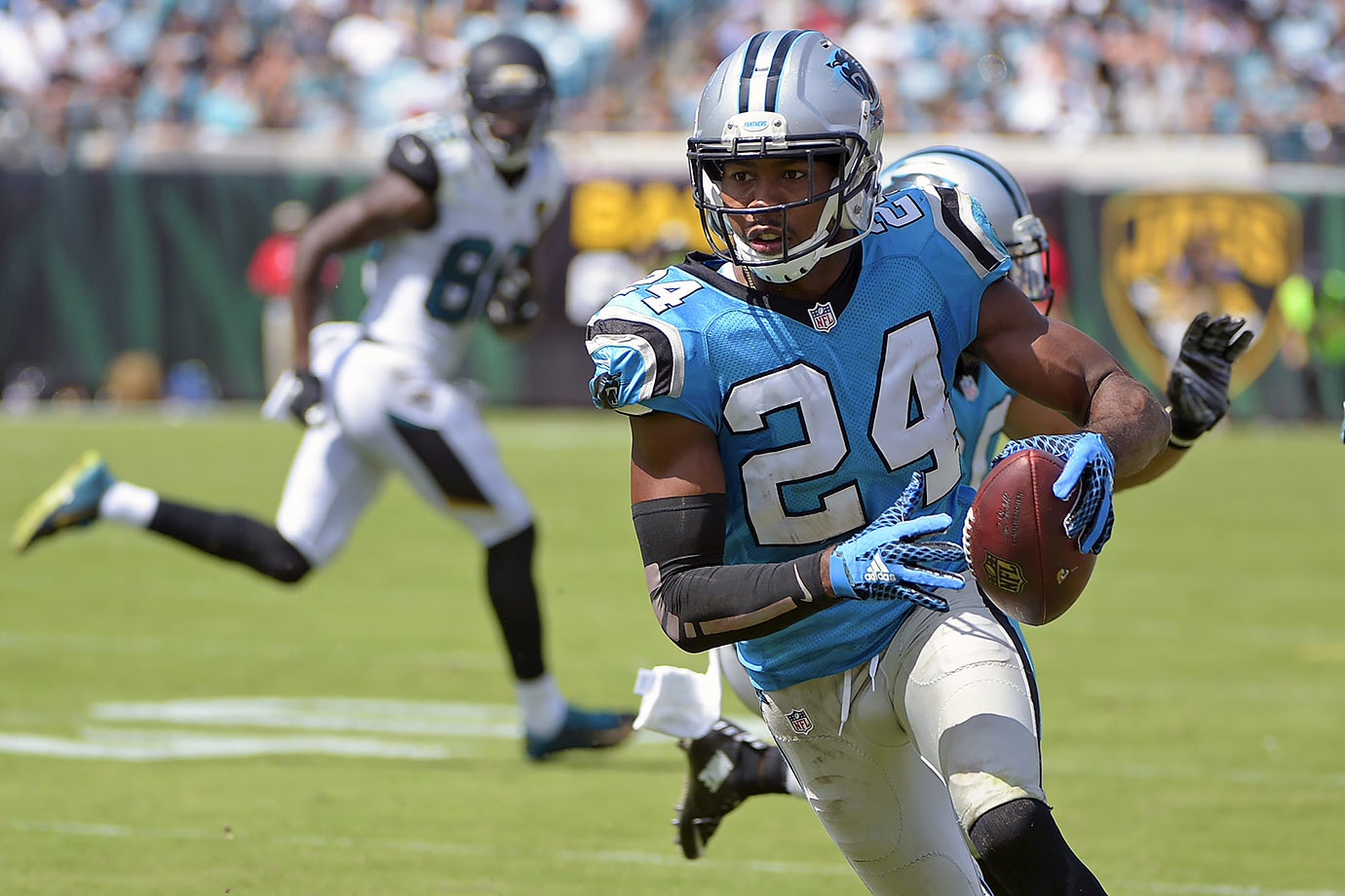 The Panthers opened the 2015 season with a 20-9 win over the Jaguars. It was a one-point game until the middle of the third quarter, when cornerback Josh Norman picked off Jacksonville quarterback Blake Bortles and returned it 30 yards for a touchdown. The Panthers defense held Bortles to just 183 yards passing on the day and picked him off twice.
