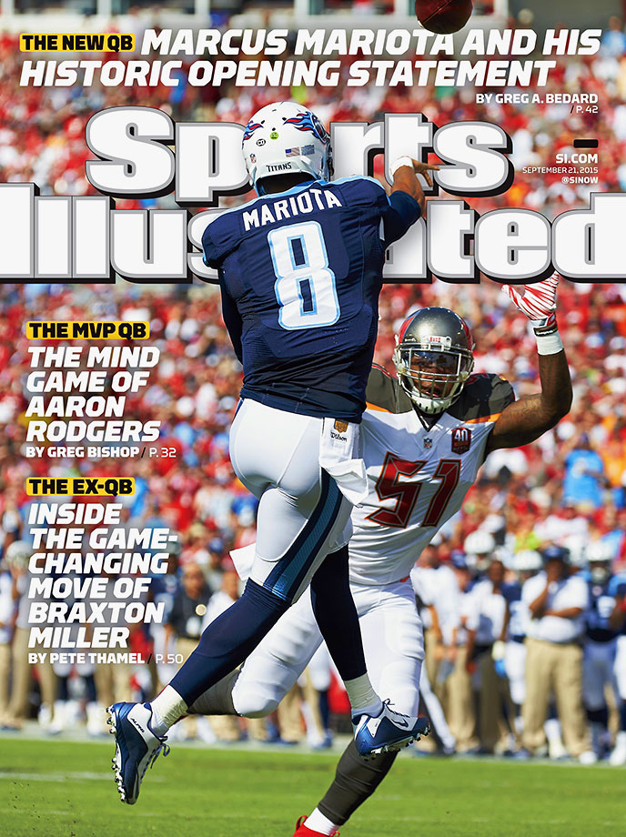 September 21, 2015 | Tennessee Titans quarterback Marcus Mariota is also featured on a regional cover. Mariota completed 13 of 16 passes for 209 yards and four touchdowns in his debut, recording a perfect 158.3 passer rating in the team's 42-14 victory over the Buccaneers on Sunday.