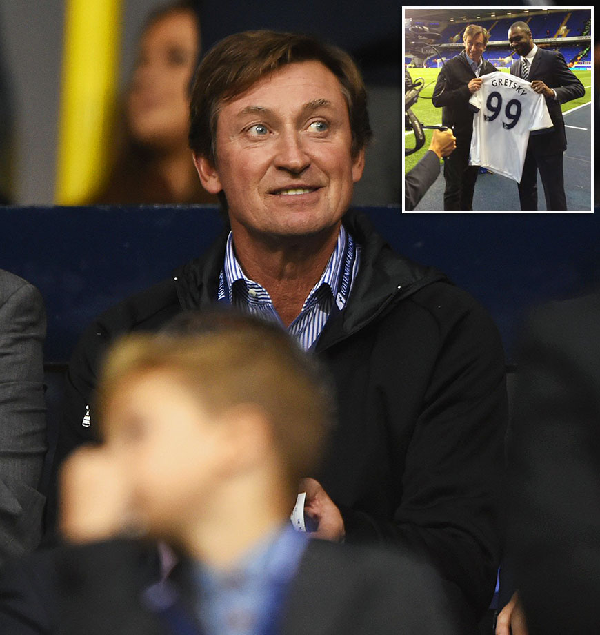 "NHL legend Wayne Gretzky stopped by London's White Hart Lane to take in Tottenham's League Cup soccer game against archrival Arsenal on Sept. 23, 2015. After what the Hotspur did to ""The Great One"" before the game, it's unclear which side he ended up pulling for. Tottenham presented Gretzky with a custom jersey, but made a crucial error, replacing the ""Z"" in his name with an ""S."" You'd think a team with guys named Toby Alderweireld and Jan Vertonghen would be better at spelling."