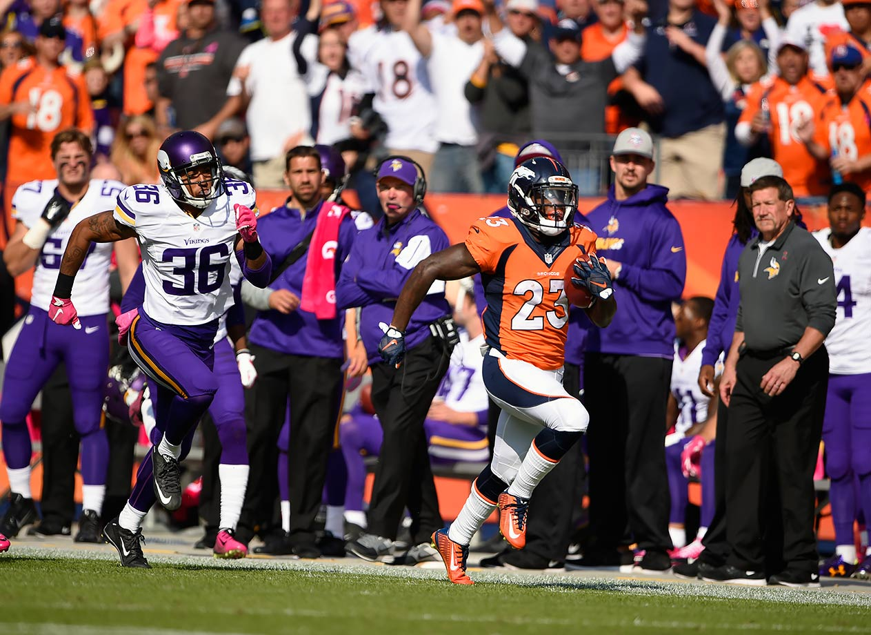 Another close game ended in the Broncos' favor as they edged out the Minnesota Vikings on a McManus field goal with 1:51 left. Manning threw another two interceptions, but Ronnie Hillman picked up the slack. He had 11 carries for 103 yards, including a 72-yard touchdown run in second quarter. The Broncos won 23-20.