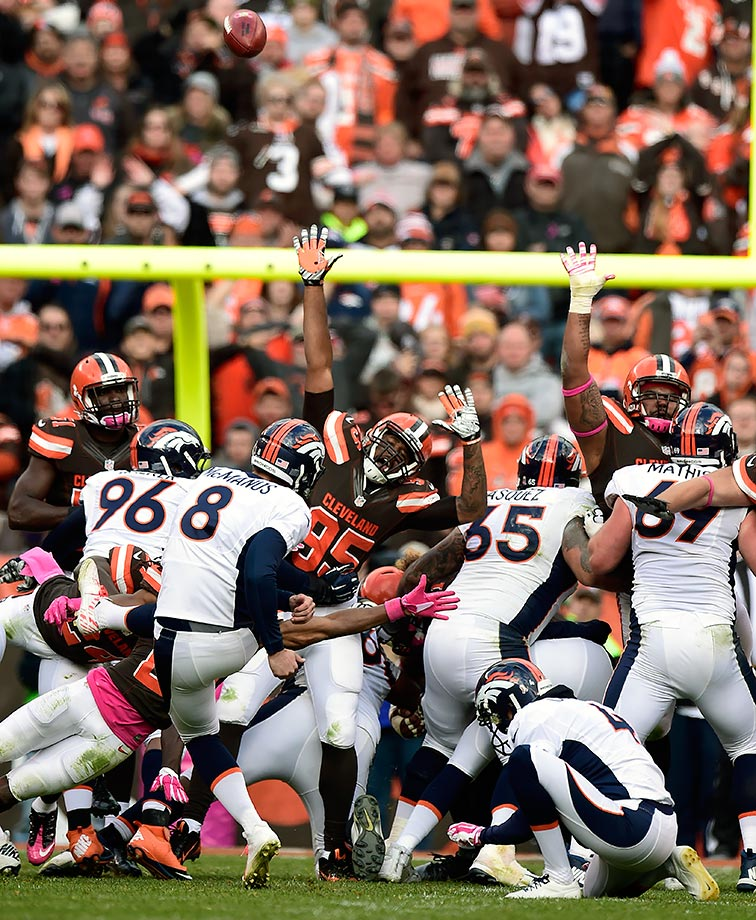 Peyton Manning threw three interceptions—one of which was returned for a touchdown by the Browns—but Aqib Talib had another pick-six and McManus hit three field goals. After Manning threw his lone touchdown pass—a 75-yarder to Emmanuel Sanders—the Browns came back and tied the game at 23, sending it to overtime. But McManus hit his fourth field goal of the day with 4:56 left in OT to give Denver the win and a 6-0 record heading into the bye week.
