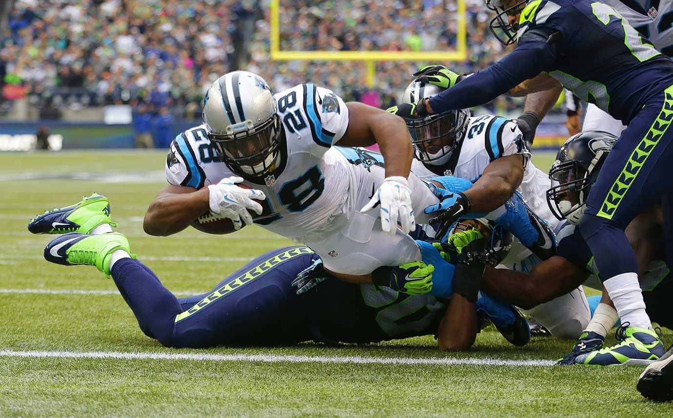 The Panthers traveled to Seattle to face the defending Super Bowl champions in a game that came down to the wire. Down 13 points in the middle of the third quarter, it was the rushing game that helped lead the way to the comeback. Running back Jonathan Stewart had two rushing touchdowns on top of Newton's rushing touchdown in the second quarter. Down three points with 32 seconds left, Olsen snuck behind the Seattle secondary and Newton zipped a pass into the endzone, giving the Panthers a 27-23 victory.