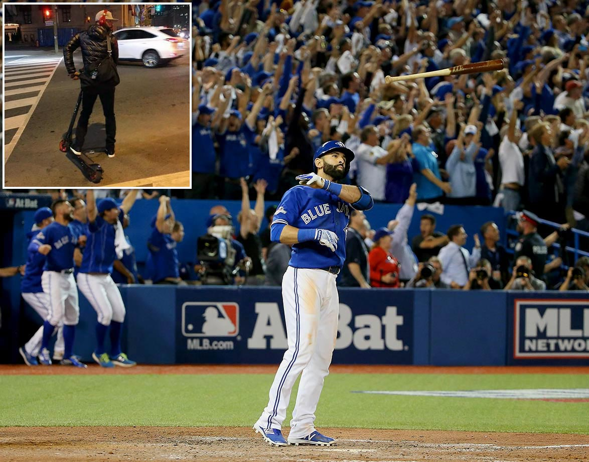 The hero of the Blue Jays' 6-3 ALDS clincher, Jose Bautista, rode home from the game on a scooter.