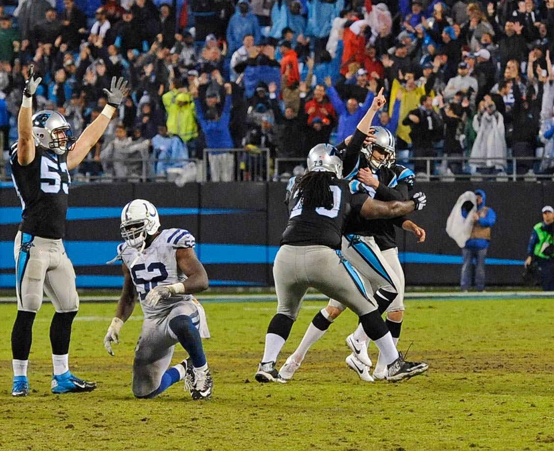 The Panthers allowed a 17-point comeback by the Indianapolis Colts to send the game to overtime after holding a 23-6 lead early in the fourth quarter. Andrew Luck threw two touchdown passes, and Adam Vinatieri tied the game up with a 24-yard field goal as time expired. In overtime, Vinatieri hit another field goal to put the Colts up three. After the Panthers tied it on Graham Gano's 42-yard field goal, linebacker Luke Kuechly intercepted a Luck pass, giving Carolina good field position. Gano then hit a 52-yard field goal to win the game 29-26.