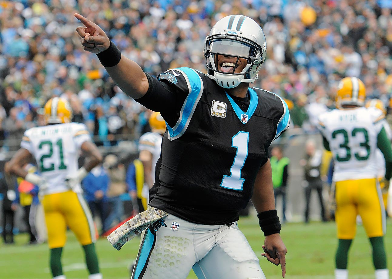 After nearly blowing a 17-point lead against the Colts, the Panthers almost gave up a 23-point fourth quarter lead to the Green Bay Packers. Newton accounted for all four Carolina touchdowns—three passing and one rushing—and the Panthers held a 37-14 lead with 9:22 left in the game. But Aaron Rodgers and the Packers scored two late touchdowns to bring the score within eight with 3:43 left. Green Bay got the ball back and Rodgers drove them down to the four with two minutes to go. On fourth and goal, Rodgers's pass was intercepted by linebacker Thomas Davis, which iced the game for Carolina.