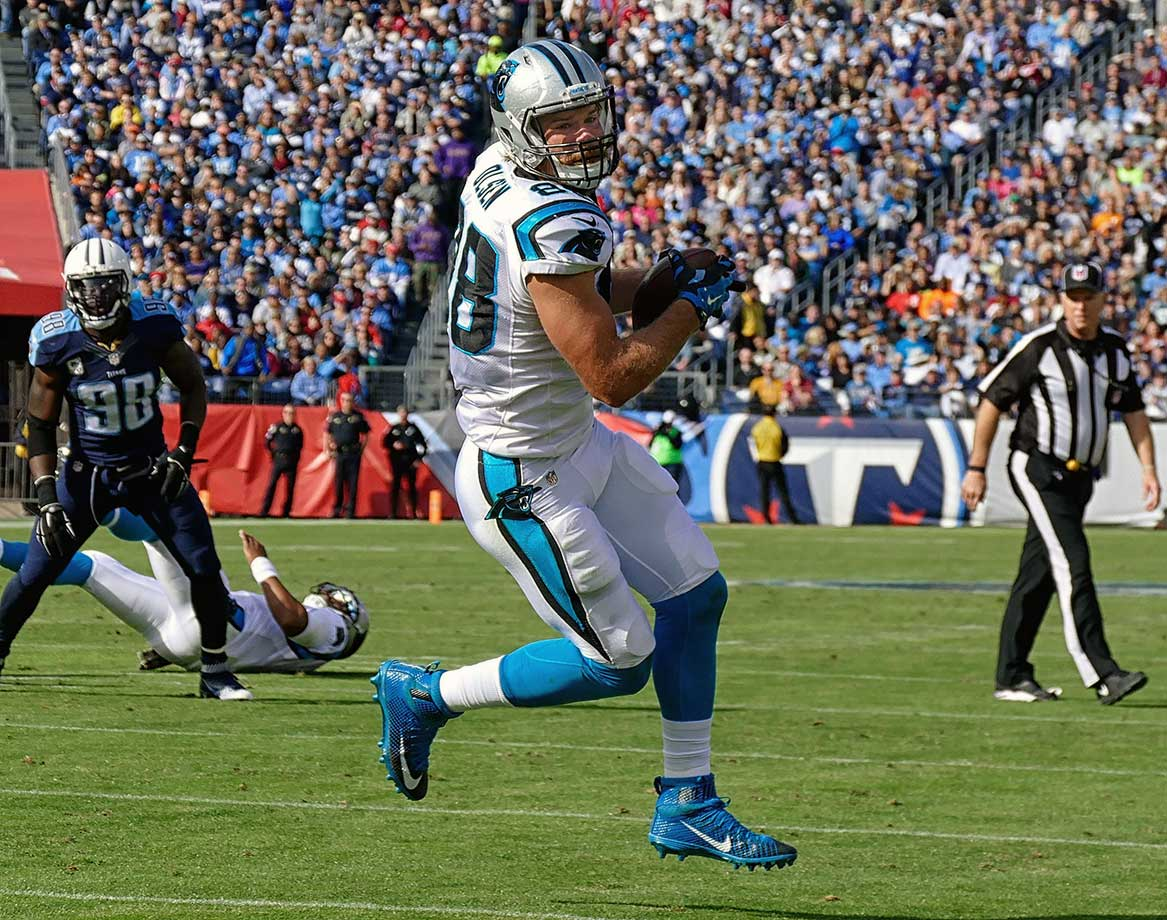 The next week wasn't nearly as nerve-wracking, as the Panthers held Marcus Mariota and the Tennessee Titans to just 10 points. Newton had 217 yards passing and one touchdown. On the ground, Newton had 23 yards and a touchdown, while Stewart had 22 carries for 91 yards and a touchdown. Greg Olsen continued his big season with 80 yards on eight receptions, including a backshoulder, one-handed grab in the fourth quarter. The victory gave the Panthers a 9-0 record.