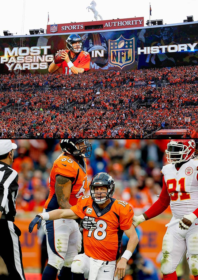 In a rematch, the Chiefs came to Mile High Stadium and crushed the Broncos 29-13. Manning broke Brett Favre's career passing record in the game, but achieved little else. He went 5 for 20 with 35 yards, no touchdowns and four interceptions before he was benched for backup Brock Osweiler in the third quarter. Osweiler led two scoring drives during trash time, and the Chiefs won the game 29-13. Denver fell to 7-2 and the Brock Osweiler era was born.