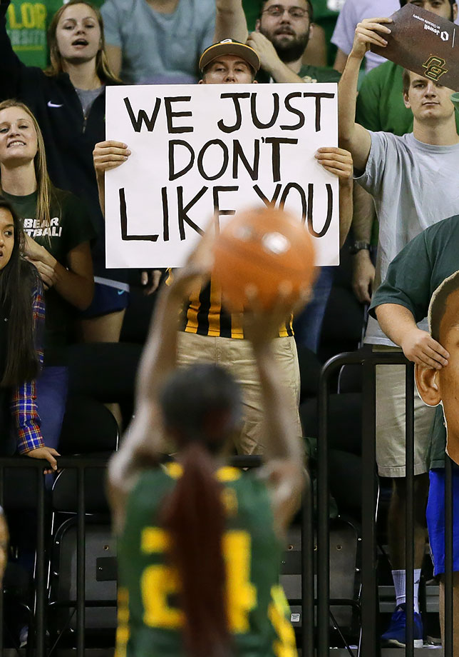 A Baylor hoops fan doesn't mince words with his sign directed towards South Florida forward Alisia Jenkins.