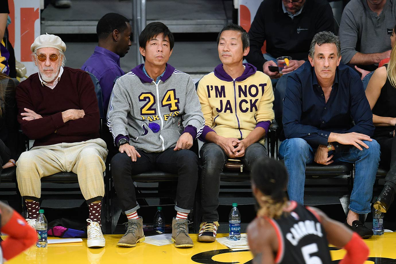 This Lakers fan sitting in Jack Nicholson's seat must've gotten tired of being asked.