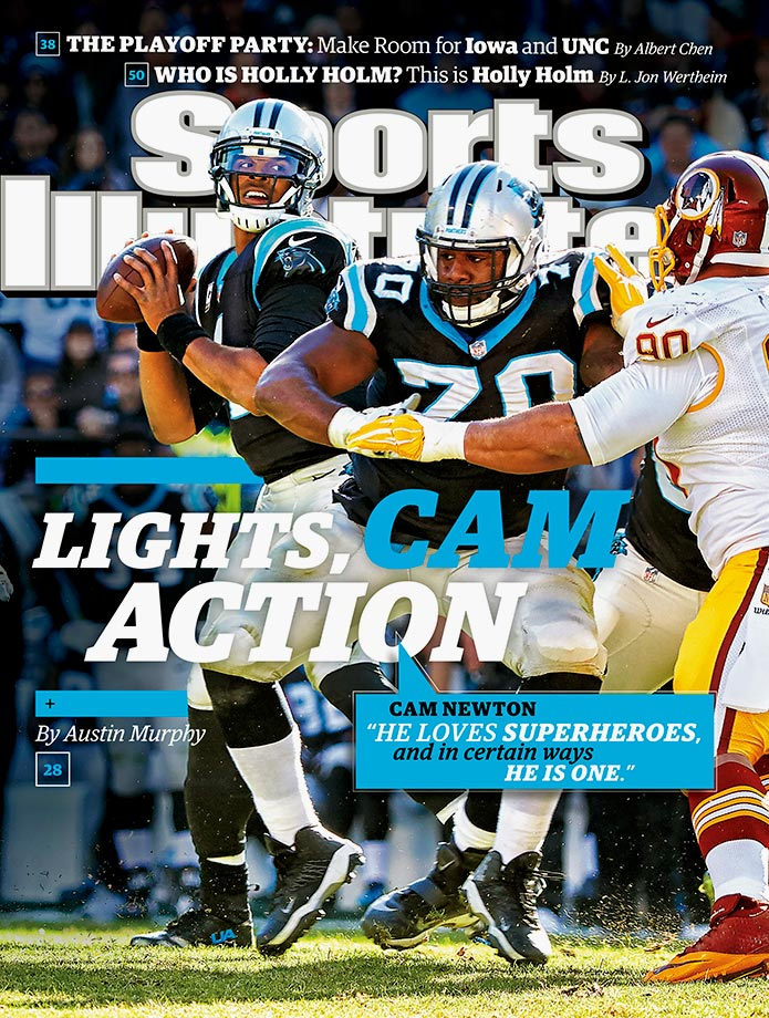 November 30, 2015 | Quarterback Cam Newton and the 10–0 Carolina Panthers are featured on this week's national cover of SI. Carolina has been led in the quest to remain undefeated by Newton, who has generated controversy with his on-field antics.
