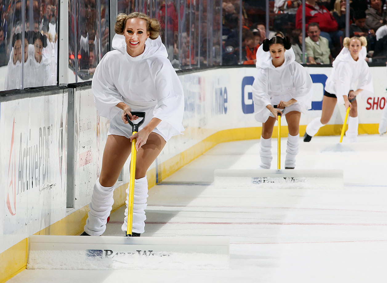 "Anaheim Ducks Power Players tend to the ice while dressed as Princess Leia during ""Star Wars Night"" in the game against the Tampa Bay Lightning on Dec. 2, 2015 at Honda Center in Anaheim, Calif."