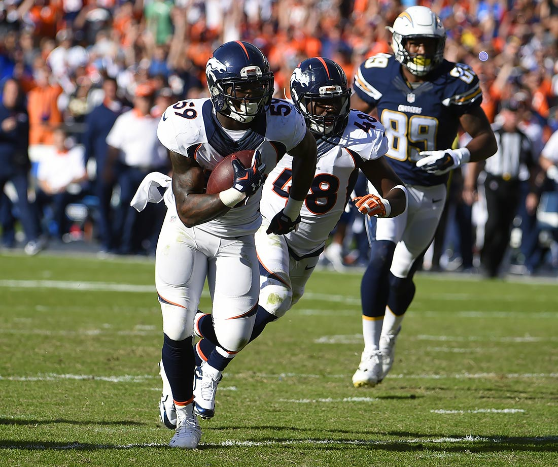 The defense dominated in a 17-3 victory over the San Diego Chargers. Osweiler started the game off with a touchdown to Demaryius Thomas, but didn't do much else. Linebacker Danny Trevathan scored on a pick-six in the first quarter, giving the Broncos a 14-0 lead. They would never look back enroute to winning their third straight game.