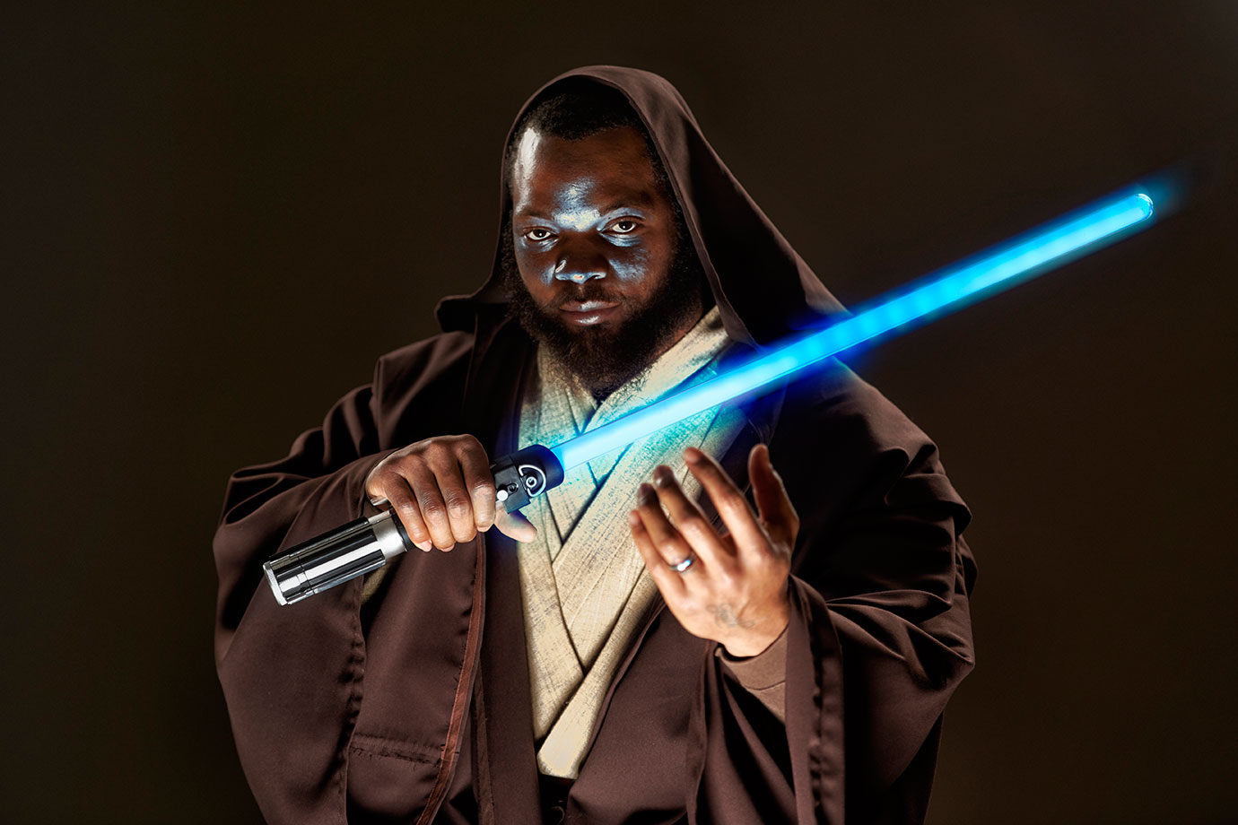 Seattle Seahawks defensive end Michael Bennett poses as a jedi during a photo shoot on Dec. 9, 2015 in Renton, Wash.