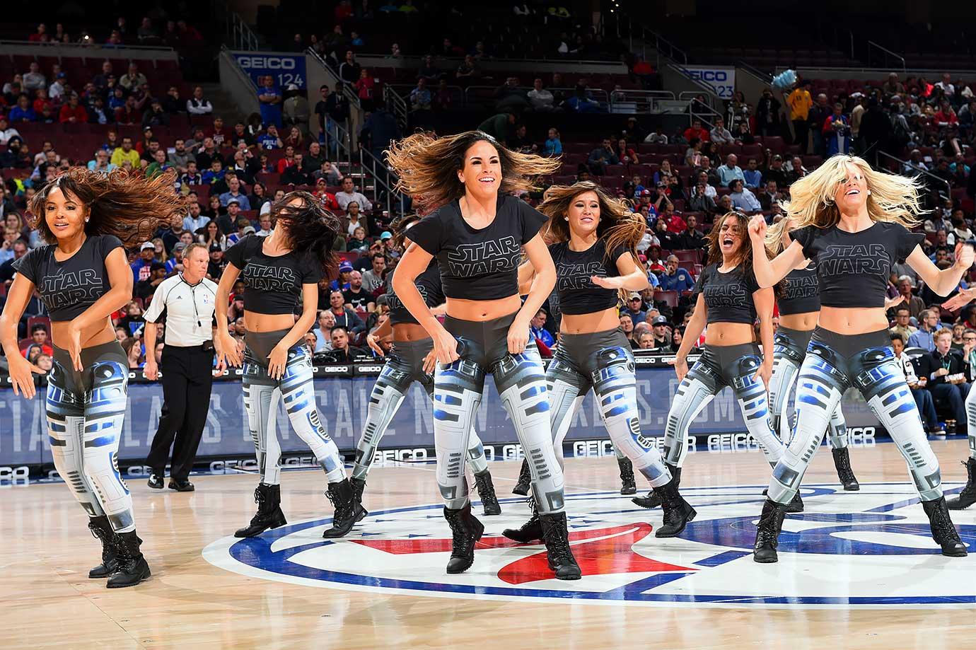 "The Philadelphia 76ers Dancer perform during ""Star Wars Night"" in a game against the Detroit Pistons on Dec. 11, 2015 at Wells Fargo Center in Philadelphia"