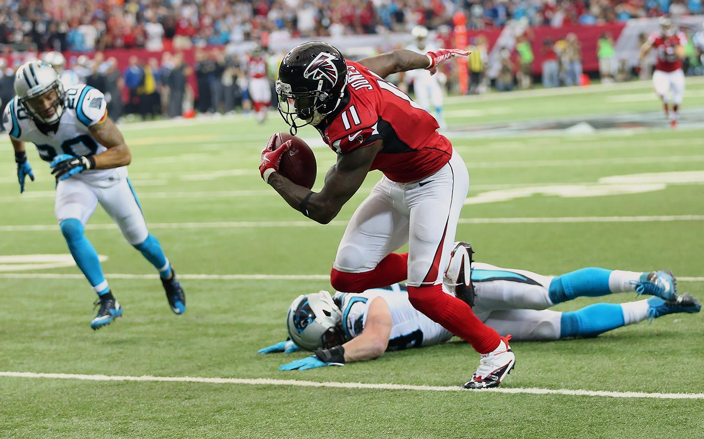 Just two weeks after shutting out the Falcons, the 14-0 Panthers went to Atlanta hoping to continue the drive toward a perfect season. The game started as planned—with Newton rushing for an eight-yard touchdown. The rest of the game, however, Carolina could only muster two field goals. Matt Ryan led the Falcons back, throwing for 306 yards and a touchdown. Including a go-ahead 70-yard touchdown pass to Julio Jones, who finished with 178 yards receiving and a touchdown. The Panthers lost their first and only game of the season, 20-13.