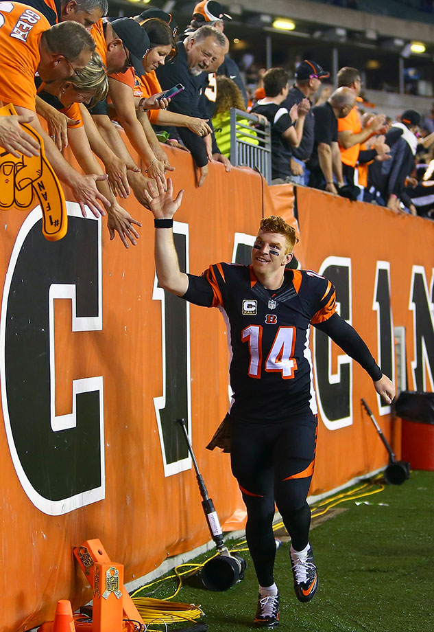 The Bengals and quarterback Andy Dalton won their first eight games of the 2015 season, surpassing the franchise record of seven consecutive wins set in 1970.
