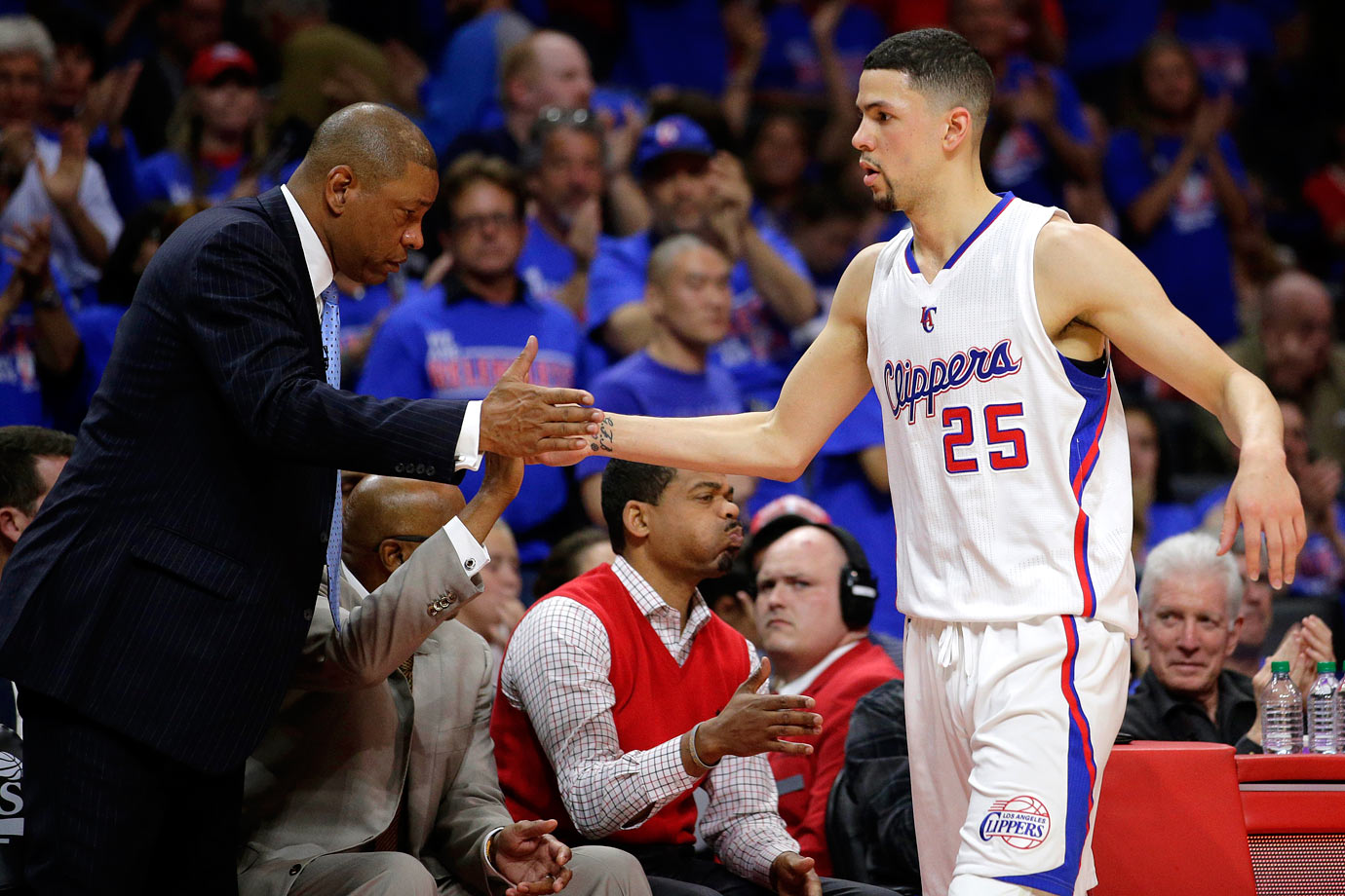 Clippers coach and former NBA point guard Doc Rivers traded for his son on Jan. 15, 2015, making Austin the first player in NBA history to play for a team coached by his father. Austin was drafted 10th overall by New Orleans in 2012.