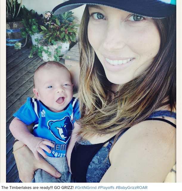 Justin Timberlake posted a photo of his wife, Jessica Biel, and their newborn son, Silas, in a tiny Memphis Grizzlies jersey just before tipoff of Game 1 against the Portland Trail Blazers on April 19, 2015.
