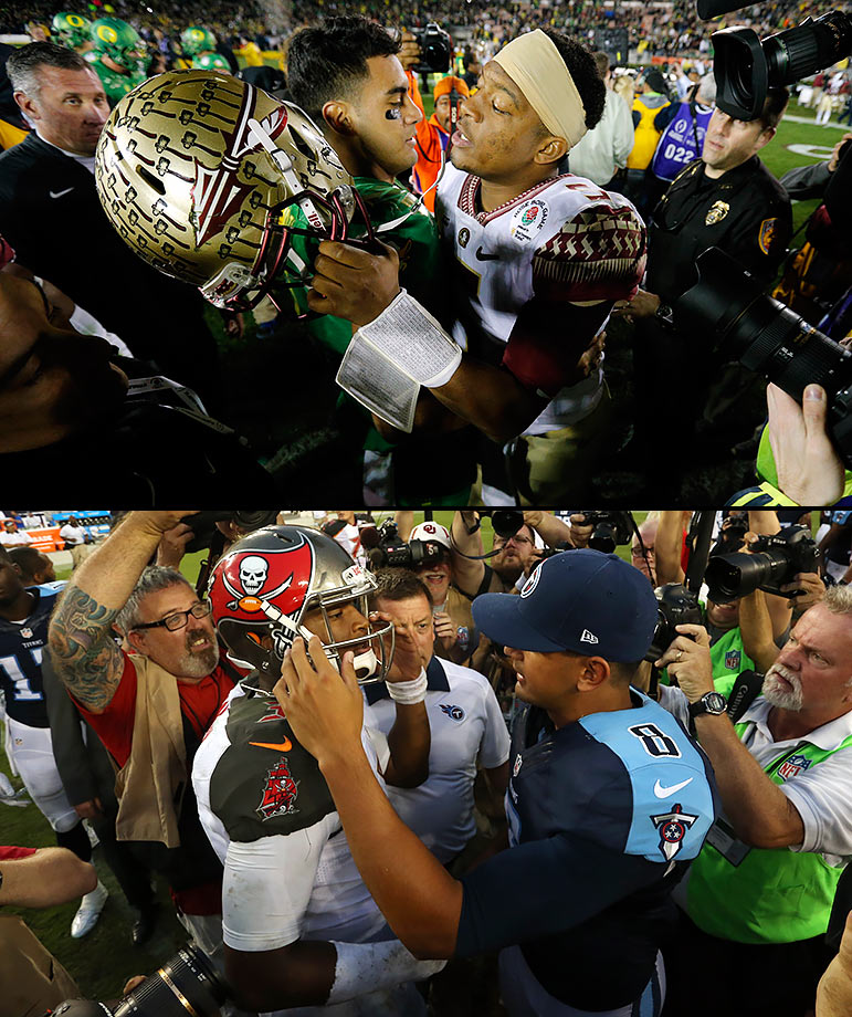 In just the third time in history, the two most recent Heisman Trophy winners battled in the postseason, as Marcus Mariota's Oregon Ducks beat Jameis Winston's Florida State Seminoles in the first semifinal game of the new College Football Playoff. Interestingly, Winston beat Mariota to be the top pick in the 2015 NFL Draft, only to have Mariota beat him again in both players' first NFL game, between Tampa Bay and Tennessee in September.