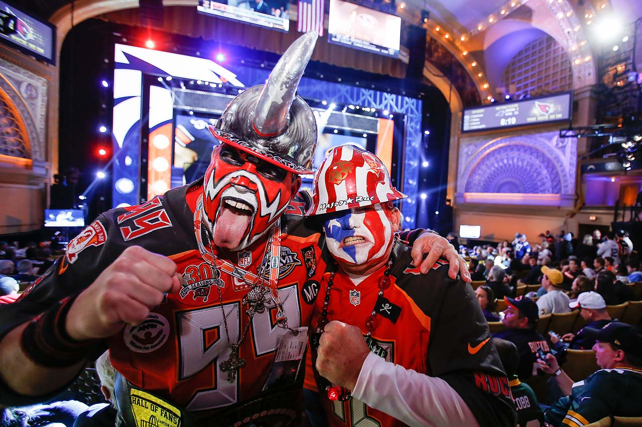 Tampa Bay Buccaneers fans Keith Kunzig and David Miller are excited to have traveled from Florida to be at the first round of the 2015 NFL Draft.
