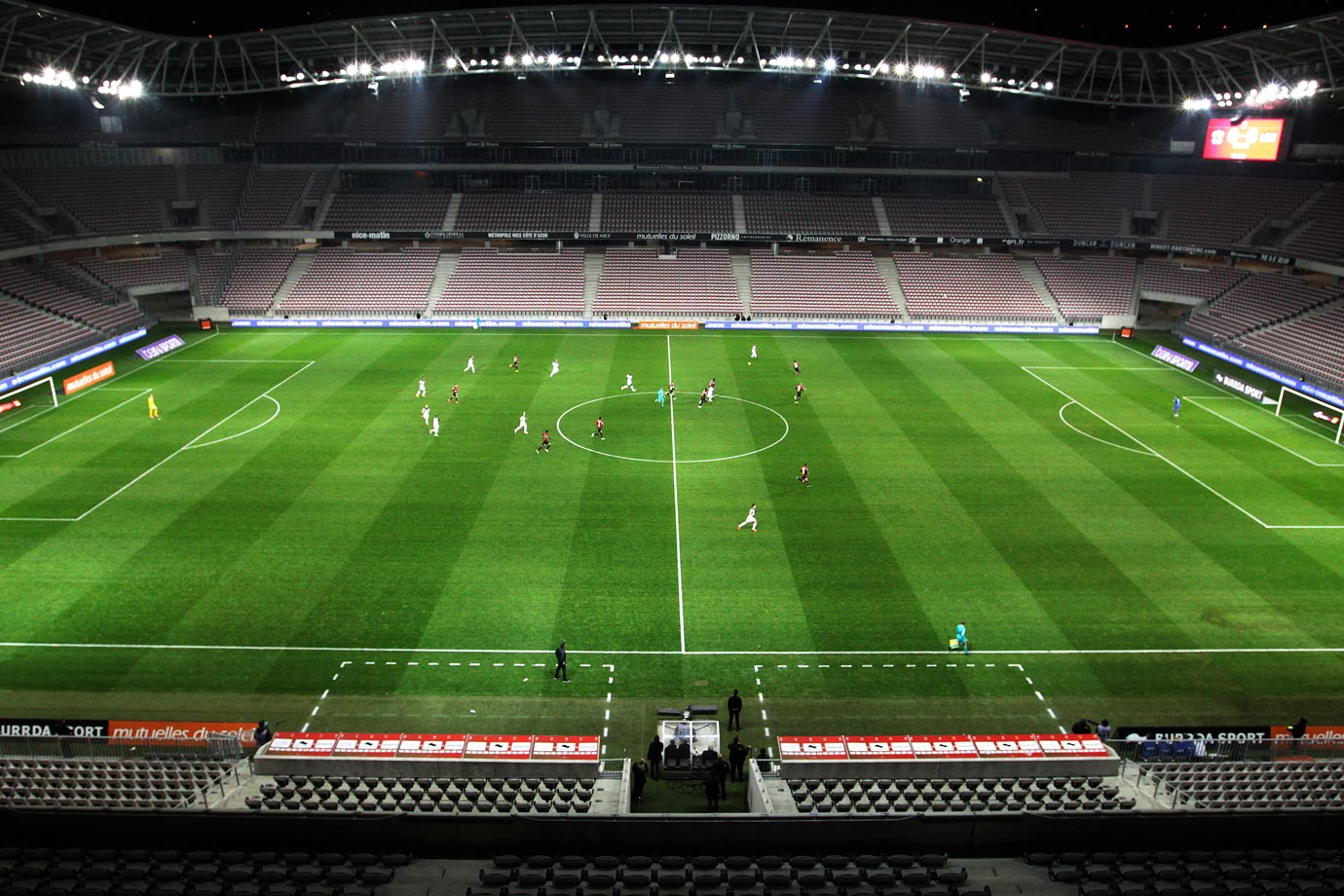 The France Ligue 1 match was played behind closed doors at Allianz Riviera stadium as punishment for Nice fans setting off flares two months earlier against Marseille. Guingamp beat Nice 2-1.