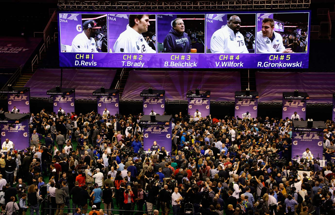 The New England Patriots participate in Super Bowl XLIX Media Day in Phoenix, Ariz.