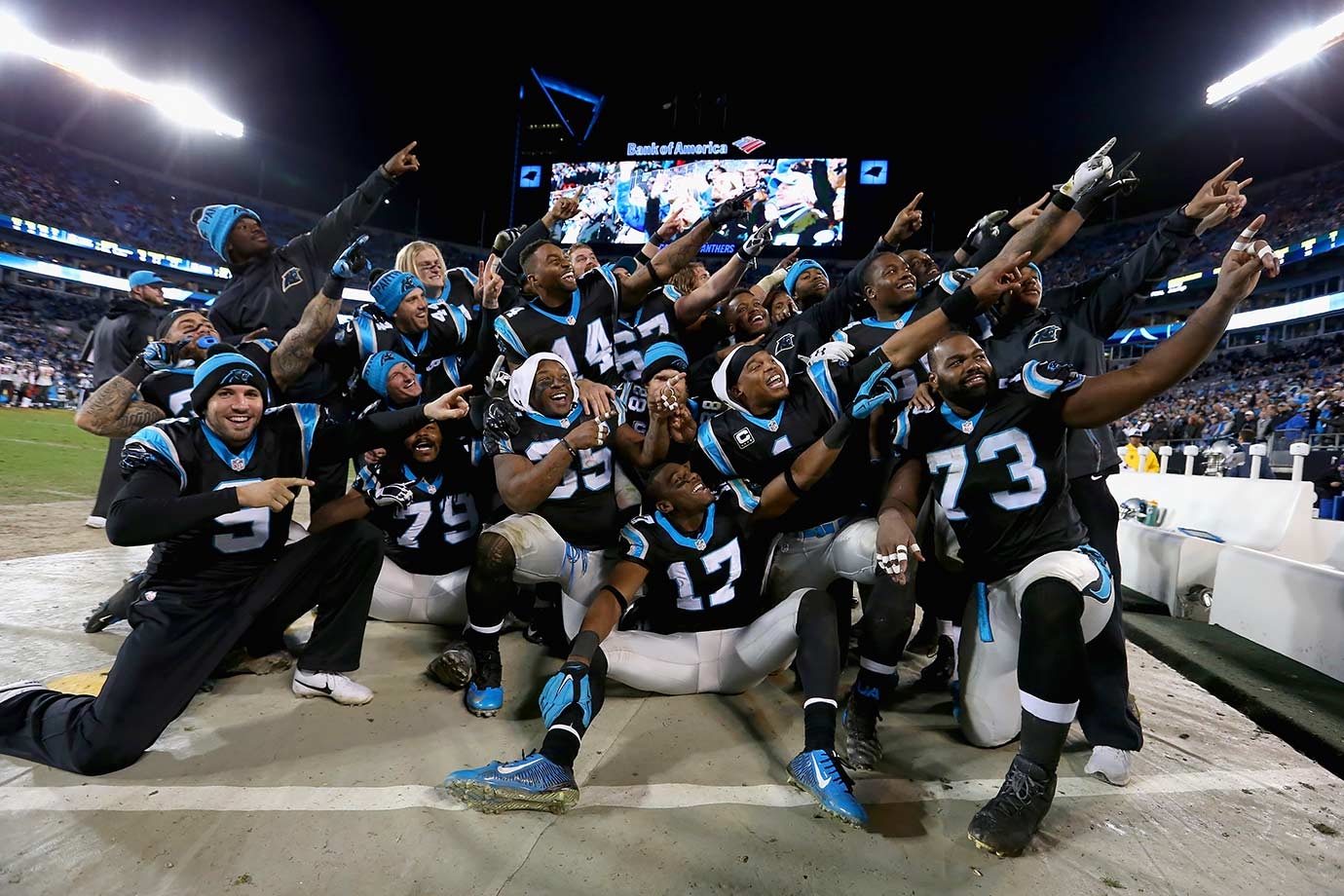 With the thought of an undefeated season gone, Carolina took care of business in the last game of the season, beating the Buccaneers 38-10. Newton had two touchdowns through the air and two on the ground as the Panthers breezed, clinching the first-seed in the playoffs.