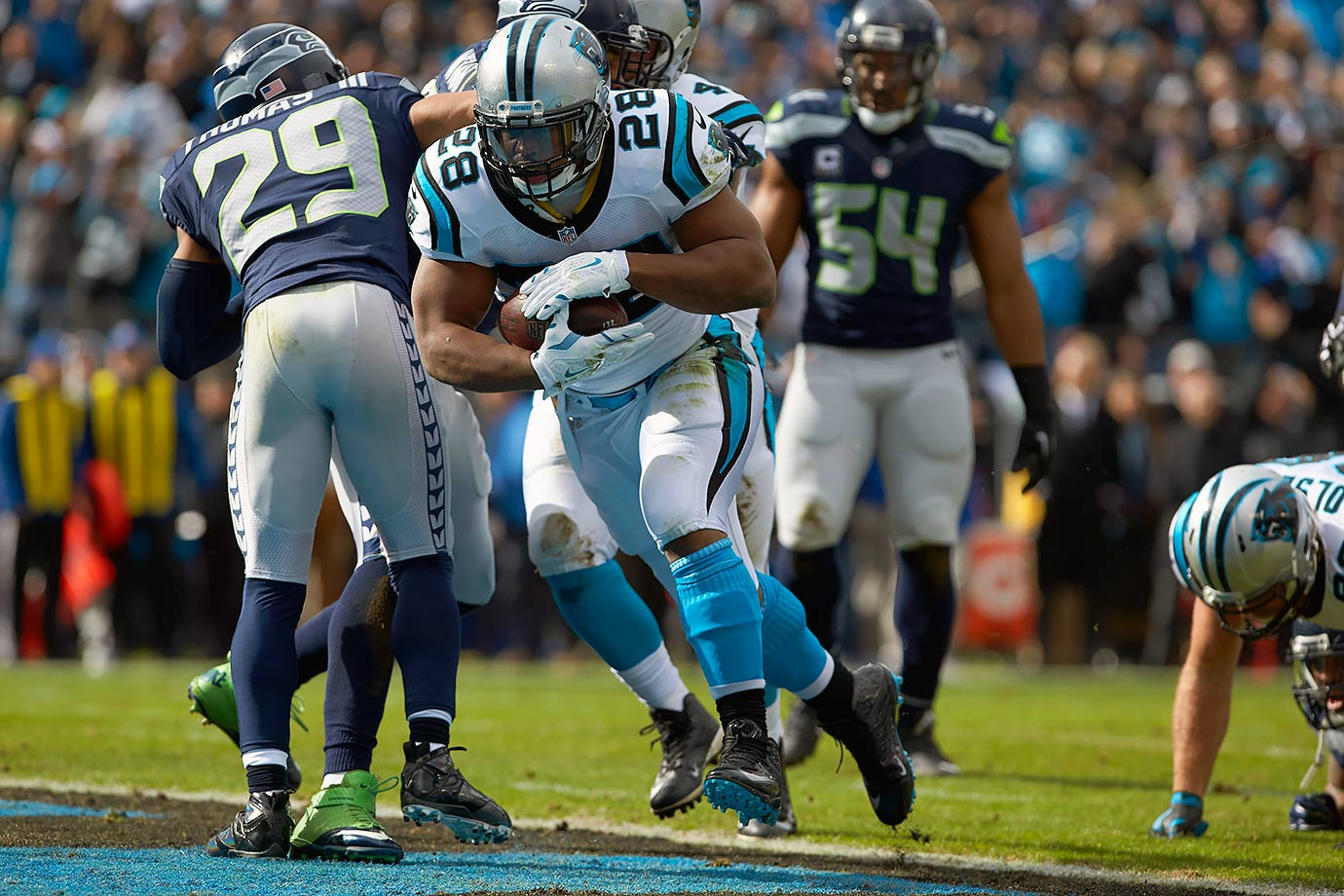 After Seattle snuck by the Minnesota Vikings on Blair Walsh's missed field goal to earn a playoff date against Carolina, the Panthers jumped out to another fast start, followed by another scare in the second half. Newton threw for 161 yards and a touchdown, while Stewart rushed for 106 yards and two touchdowns, giving the Panthers a 31-0 lead in the second quarter. Seattle quarterback Russell Wilson brought the Seahawks within seven with 1:12 to go, but Carolina recovered the onside kick to preserve the victory.