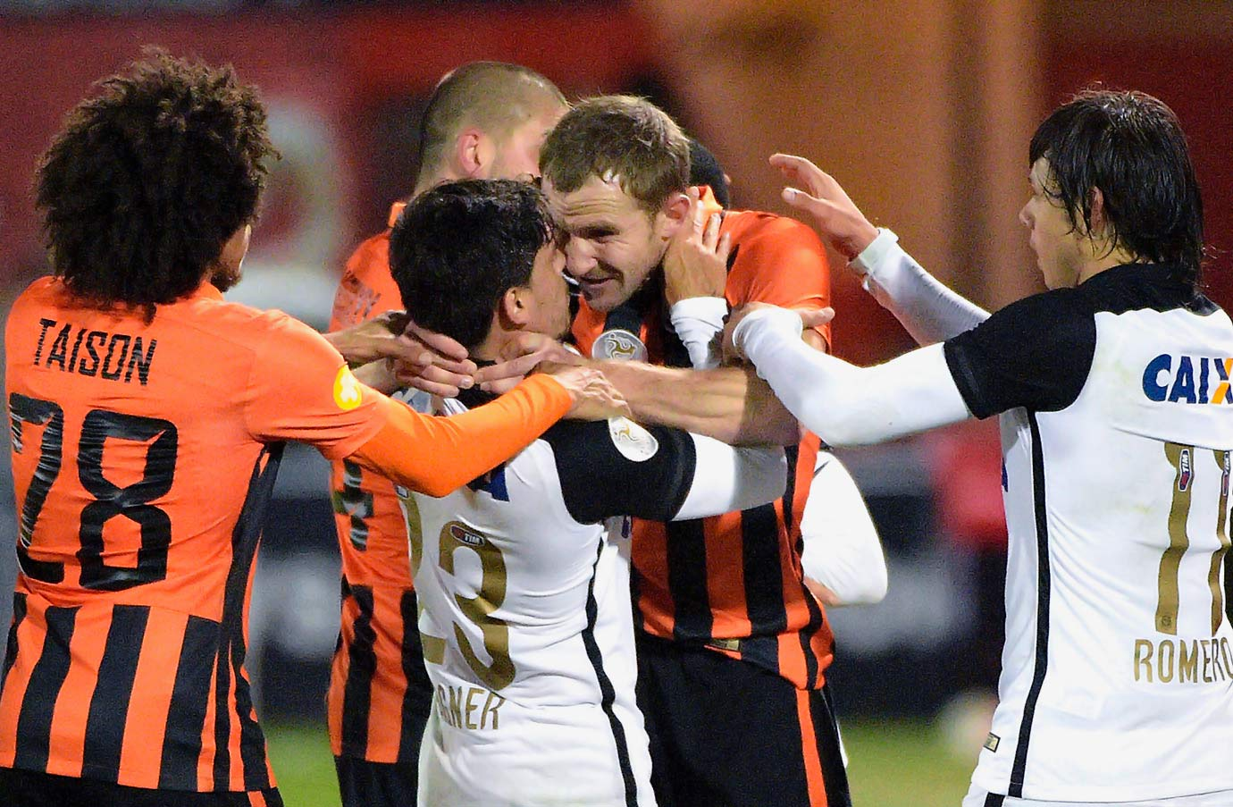 Corinthians' Fagner and Shakhtar's Olexandr Kucher were literally at each others throats during the Florida Cup soccer match in Kissimmee, Fla.