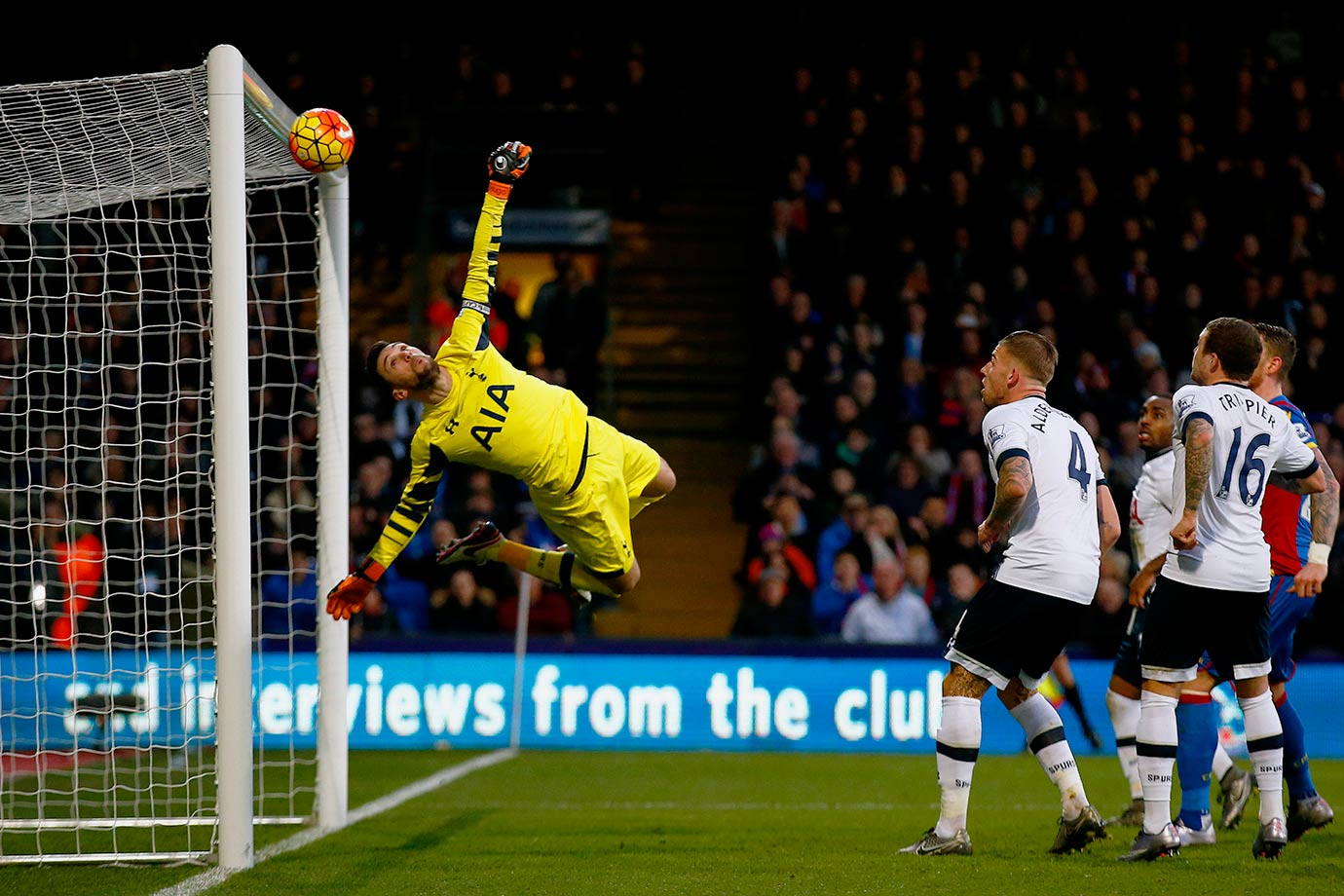 Hugo Lloris of Tottenham Hotspur (or really the crossbar) makes a save during the Barclays Premier League match against Crystal Palace at Selhurst Park in London.