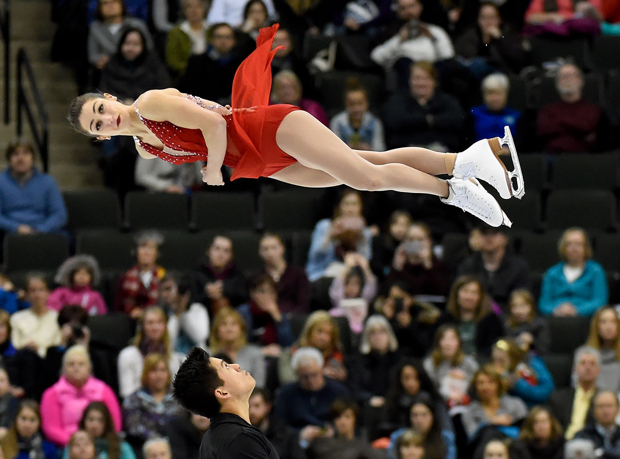 As Marissa Castelli soars through the air, Mervyn Tran might want to keep his hands up for both their sakes during the Pairs Free Skate at the 2016 Prudential U.S. Figure Skating Championship at Xcel Energy Center in St Paul, Minn.