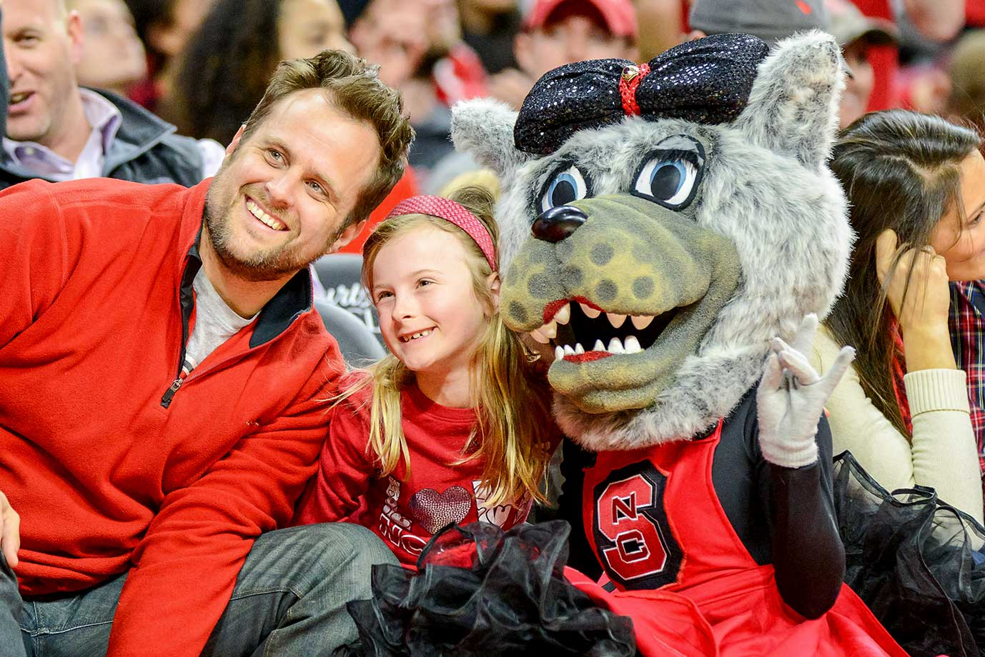 One less child terrified of NC State Wolfpack mascot Mrs. Wuf during a game against the Duke Blue Devils at PNC Arena in Raleigh, N.C.