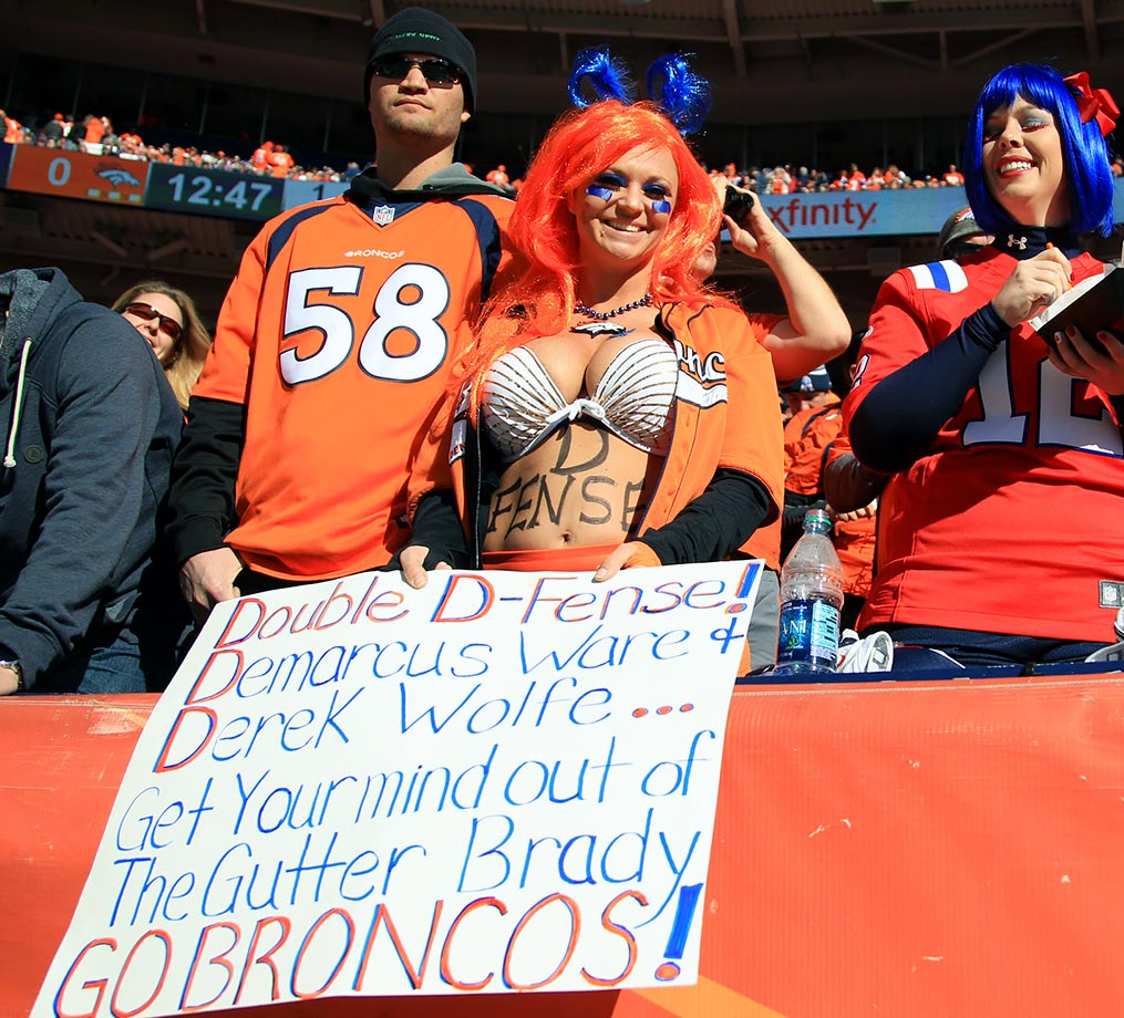 This Denver Broncos fan takes defense signs to a whole other level during the team's AFC Championship Game against the New England Patriots at Sports Authority Field at Mile High in Denver.