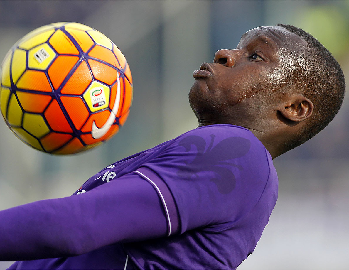 Fiorentina's Khouma Babacar needs to get over any fear of soccer balls during a Serie A soccer match against Torino at the Artemio Franchi stadium in Florence, Italy.