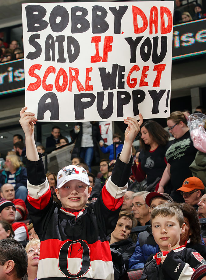 Two young Ottawa Senators fans went home happy after the team not only defeated the New York Rangers 3-0, but Bobby Ryan scored the first goal.