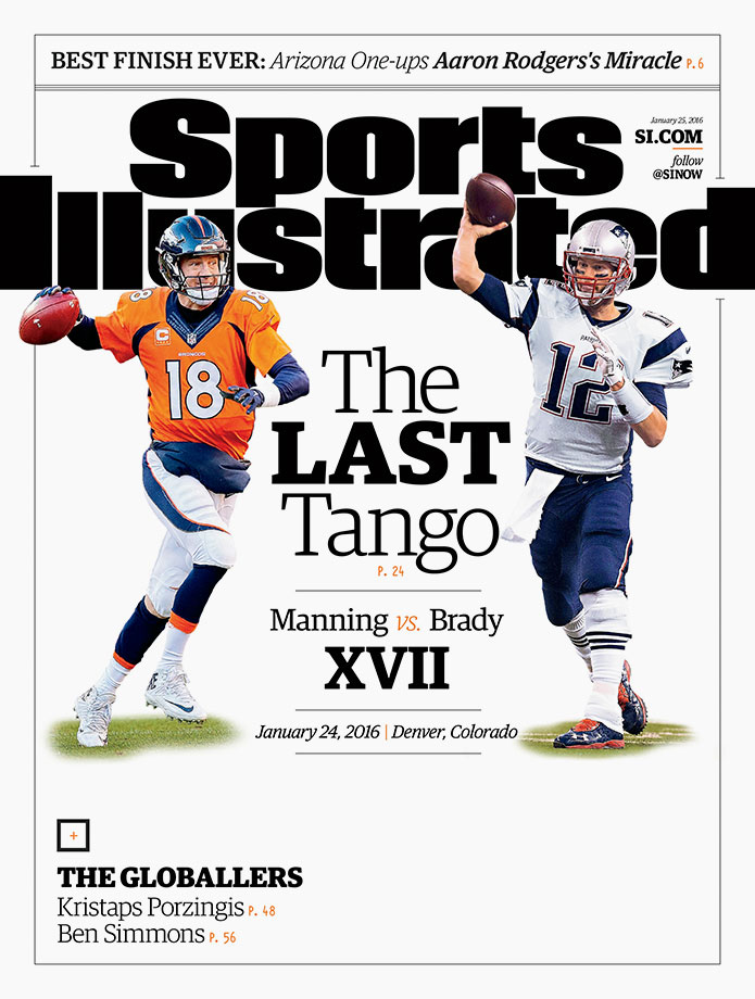 The New England Patriots will face the Denver Broncos on Sunday for the right to advance to Super Bowl 50. The game is the 17th meeting between Brady and Manning. Brady and the Patriots lead Manning 11–5 in head-to-head meetings, four of which have been for the AFC crown. SI's Greg Bedard previews the matchup, writing that the Patriots' adaptable offense will be the reason New England is able to overcome Denver and advance to its second straight Super Bowl.