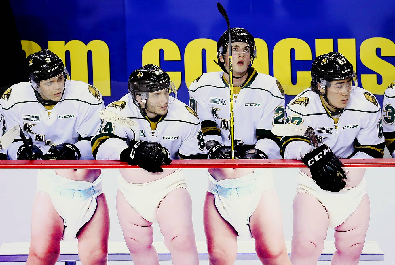 London Knights players watch from the bench during an OHL game against the Niagara IceDogs at the Meridian Centre in St. Catharines, Ontario, Canada.
