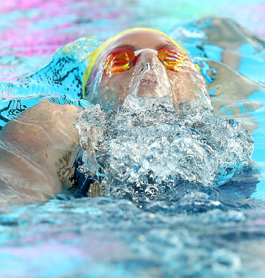 Emily Seebohm competes in the Women's 200m Backstroke during the 2016 Aquatic Superseries at HBF Stadium in Perth, Australia.