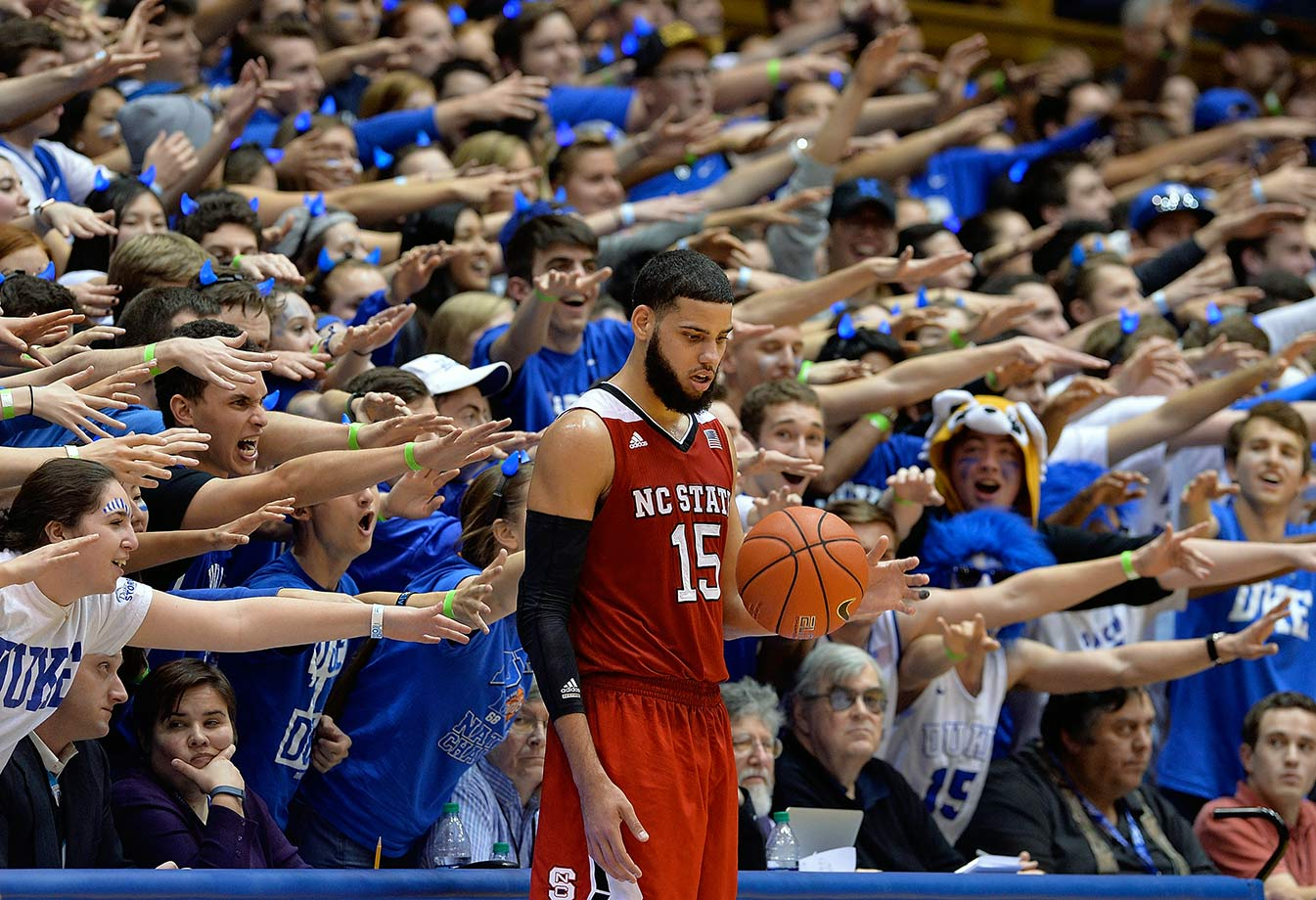 The Cameron Crazies taunt Cody Martin during a game between Duke and NC State at Cameron Indoor Stadium in Durham, N.C.