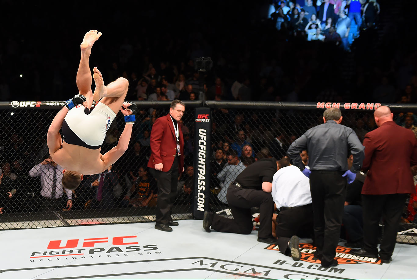 Stephen Thompson celebrates after defeating Johny Hendricks in their welterweight fight during the UFC Fight Night event at MGM Grand Garden Arena in Las Vegas.